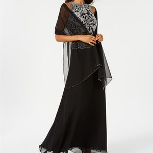 J Kara Beaded top gown with sheer scarf, NWT